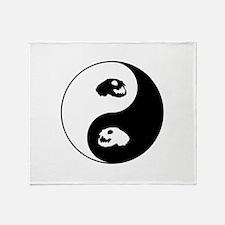 Yin Yang Cat Skull Art Throw Blanket