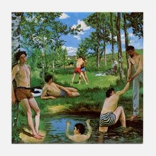 Bathers by Bazille Tile Coaster