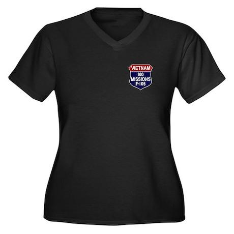 100 Missions Women's Plus Size V-Neck Dark T-Shirt