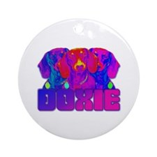 Op Art Doxie Ornament (Round)