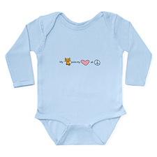 peace love kitty Long Sleeve Infant Bodysuit