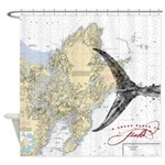 Nautical chart / fish shower curtain