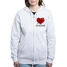 ER Nurse Heart Zip Hoodie