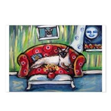 Siamese nighttime moon smile Postcards (Package of