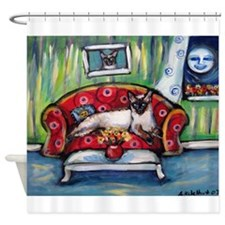 Siamese nighttime moon smile Shower Curtain