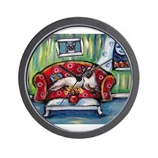 Siamese nighttime moon smile Wall Clock