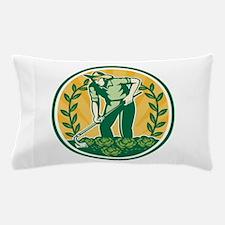 Farmer Gardener With Garden Hoe Cabbage Pillow Cas