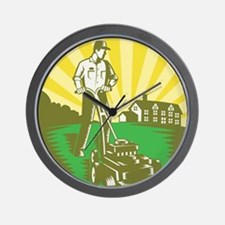 Gardener Mowing Lawn Mower Retro Wall Clock