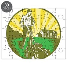 Gardener Mowing Lawn Mower Retro Puzzle