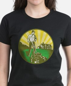Gardener Mowing Lawn Mower Retro Tee