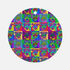 Op Art Pitbull Ornament (Round)