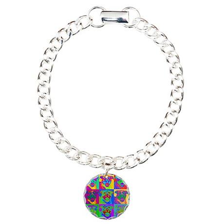 Op Art Pitbull Charm Bracelet, One Charm