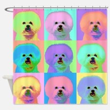 Op Art Bichon Shower Curtain