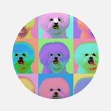 Op Art Bichon Ornament (Round)