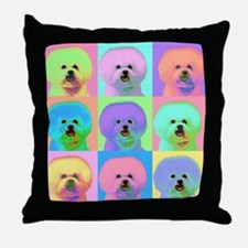 Op Art Bichon Throw Pillow