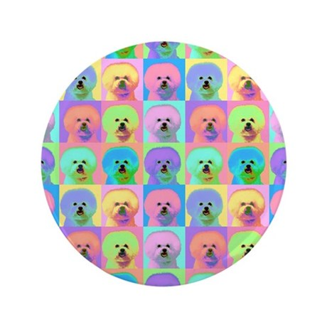 "Op Art Bichon 3.5"" Button (100 pack)"