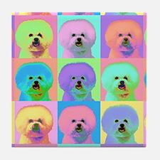 Op Art Bichon Tile Coaster