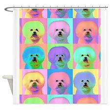 Op Art Bichon Shower Curtain