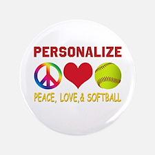 """Personalize Girls Softball 3.5"""" Button"""