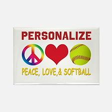Personalize Girls Softball Rectangle Magnet (10 pa