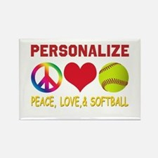 Personalize Girls Softball Rectangle Magnet