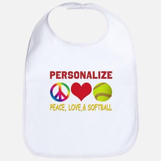 Personalize Girls Softball Bib