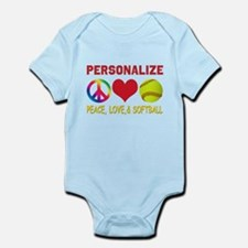 Personalize Girls Softball Infant Bodysuit