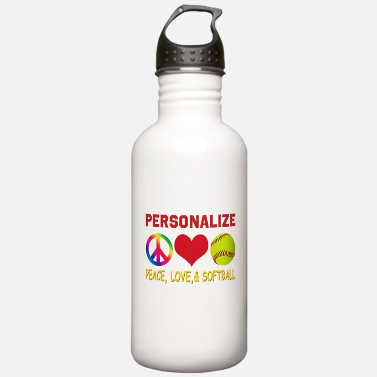 Personalize Girls Softball Water Bottle