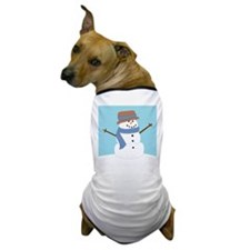 Snowman in Blue Scarf and Hat Dog T-Shirt