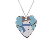 Snowman in Blue Scarf and Hat Necklace