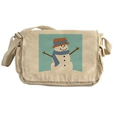 Snowman in Blue Scarf and Hat Messenger Bag