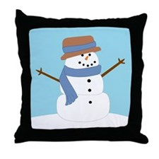 Snowman in Blue Scarf and Hat Throw Pillow