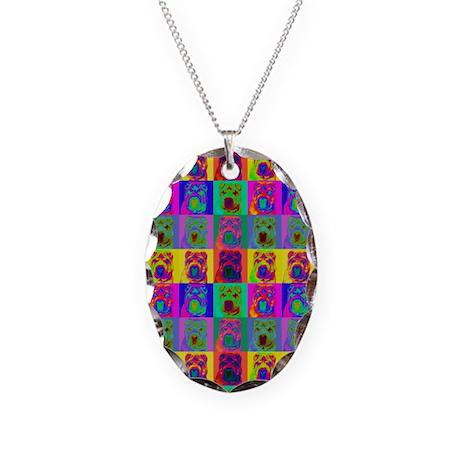Op Art Shar Pei Necklace Oval Charm