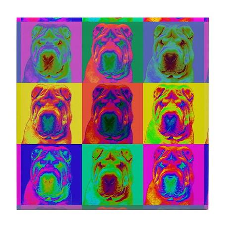 Op Art Shar Pei Tile Coaster