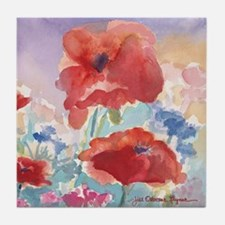 Red Poppies 2 Tile Art Coaster