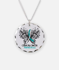 Butterfly Cervical Cancer Necklace Circle Charm