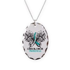 Butterfly Cervical Cancer Necklace Oval Charm