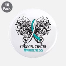 """Butterfly Cervical Cancer 3.5"""" Button (10 pack)"""