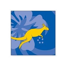 "Kangaroo Square Sticker 3"" x 3"""