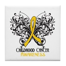 Butterfly Childhood Cancer Tile Coaster