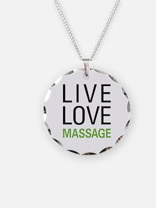 Live Love Massage Necklace Circle Charm