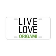 Live Love Origami Aluminum License Plate