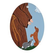 Dachshund And St. Francis Ornament (Oval)