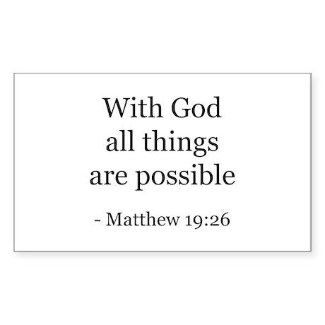Matthew 19:26 Rectangle Sticker