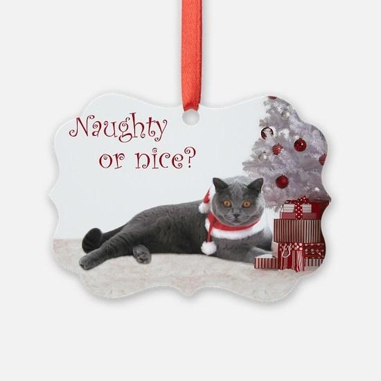 Cat Under Christmas Tree Ornament