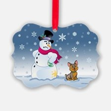 Yorkshire Terrier and Snowman Ornament