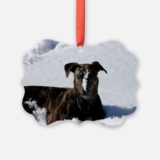 Greyhound Snow Ornament