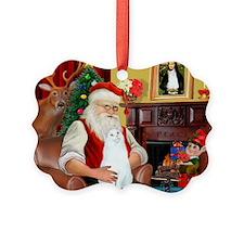 Santa's White Cat Ornament
