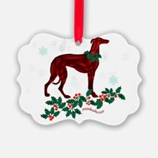 Sighthound & Holly Ornament