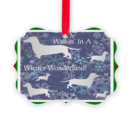 Dachshund Holiday Picture Ornament